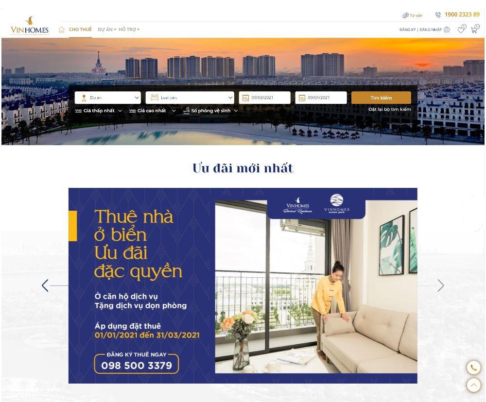 Giao diện trang thương mại điện tử cho thuê https://stay.vinhomes.vn