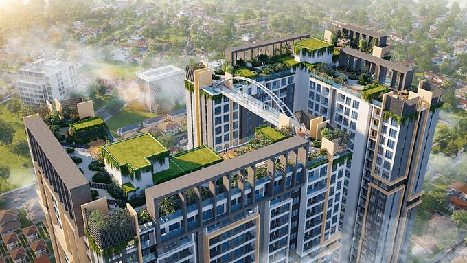 Tổ hợp hệ sinh thái thư giãn trên cao với cầu kính trên không nối liền 2 tòa tháp của dự án Happy One - Central.
