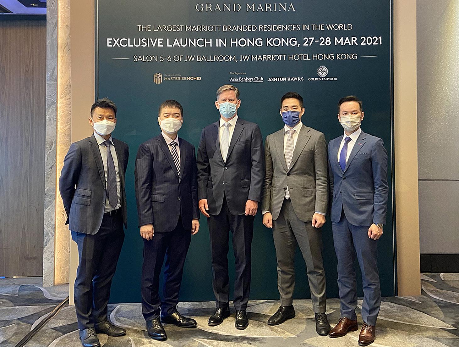 Đại diện Golden Emperor, Asia Bankers Club, Marriott International và Ashton Hawks tại sự kiện giới thiệu Grand Marina Saigon tại Hong Kong, hôm 16/3. Ảnh: Masterise Homes.