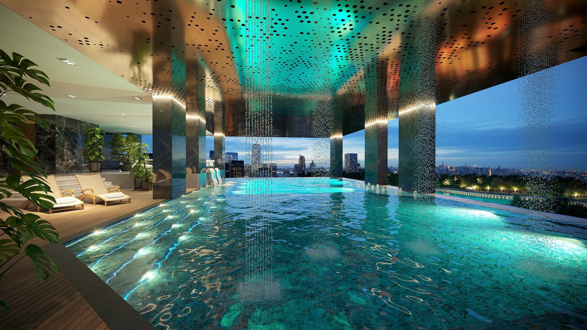 Hồ bơi tràn bờ Sky Pool, nơi thư giãn cho cư dân Park Legend. Ảnh: ICC.