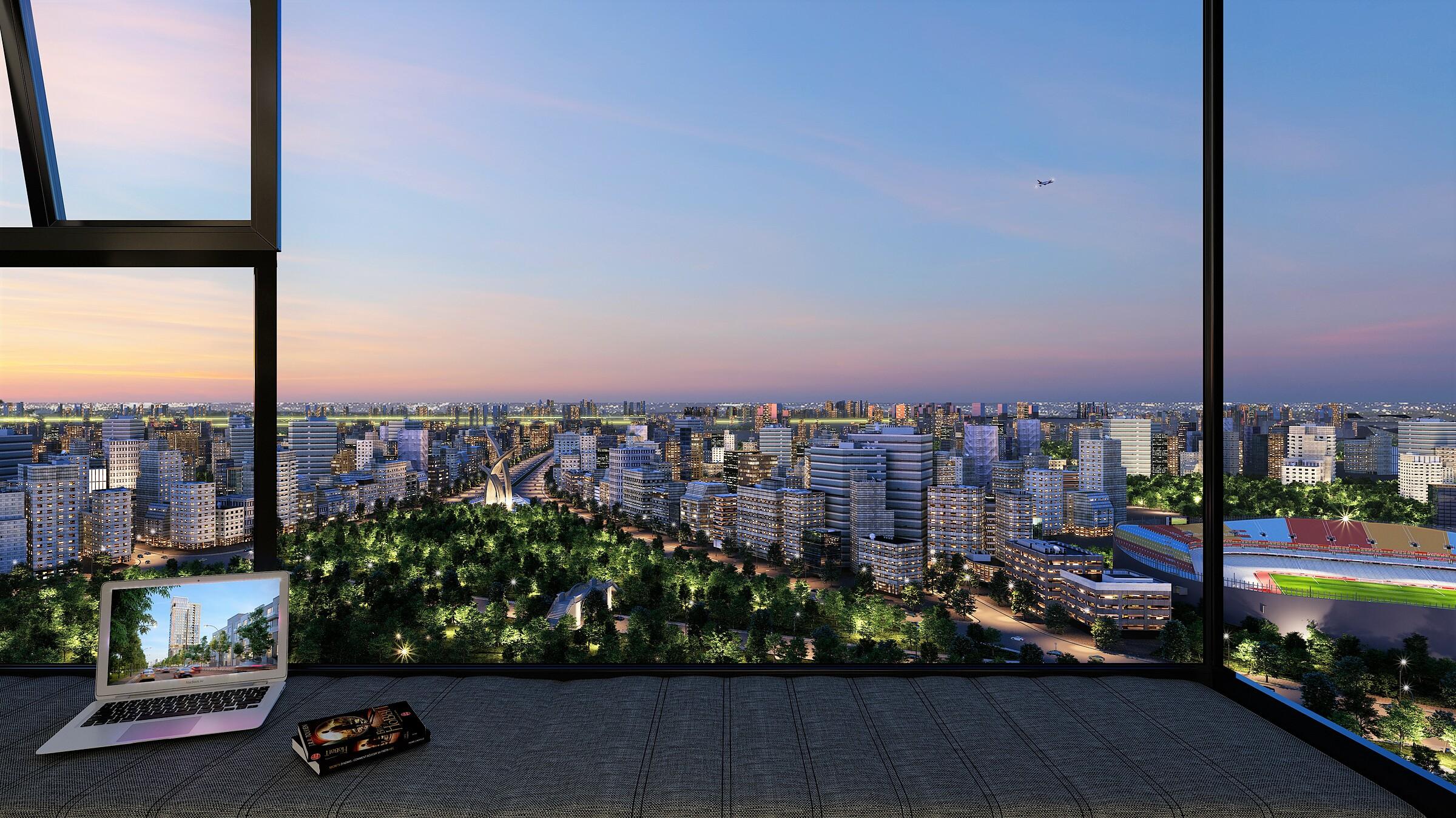 View nhìn toàn cảnh rộng thoáng của căn hộ Park Legend. Ảnh: ICC.