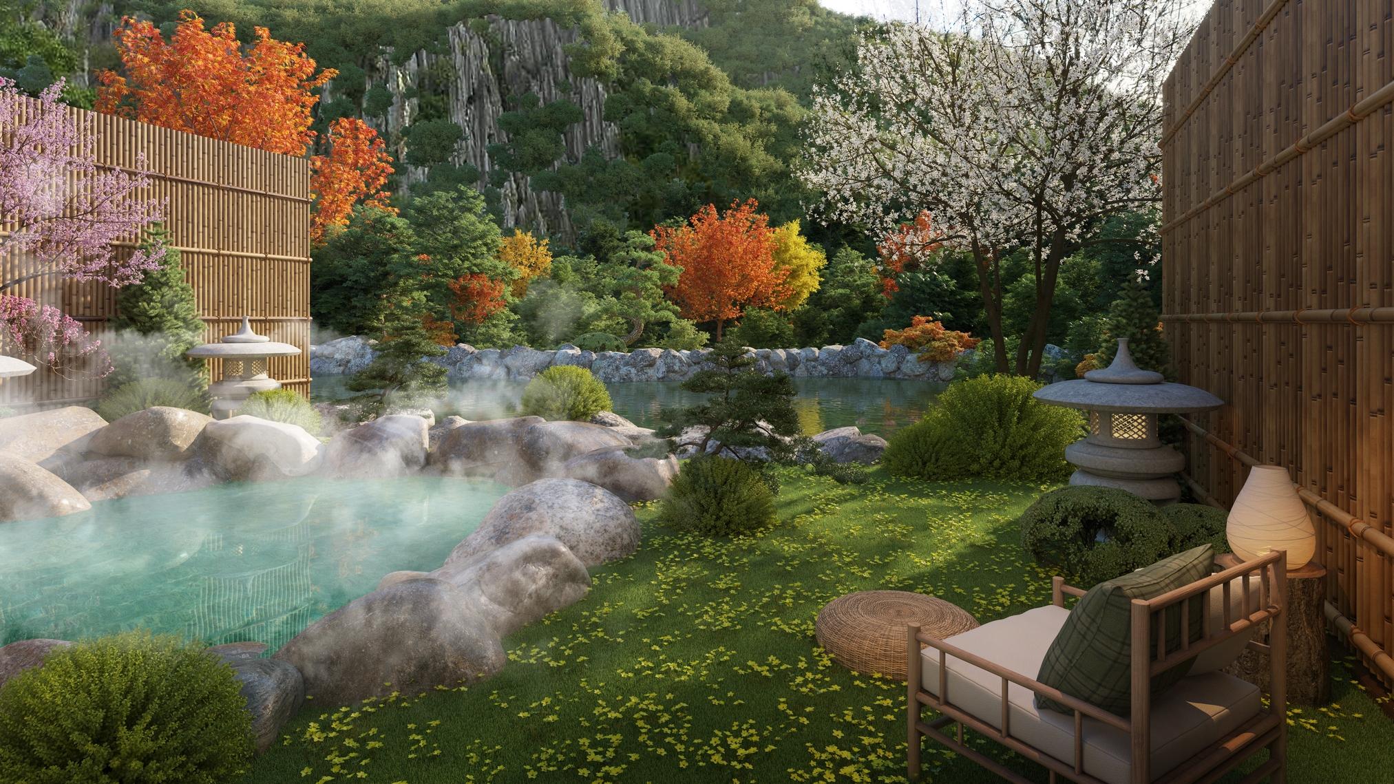 Tắm khoáng nóng hàng ngày là đặc quyền riêng của chủ nhân phân khu Yoko Villas.