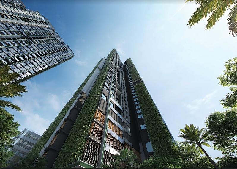 Dự án phát triển mảng xanh theo phương đứng và áp dụng hệ thống bảo trì tòa nhà BMU nhằm đảm bảo duy trì mảng xanh hiệu quả. Ảnh phối cảnh: Masterise Homes.