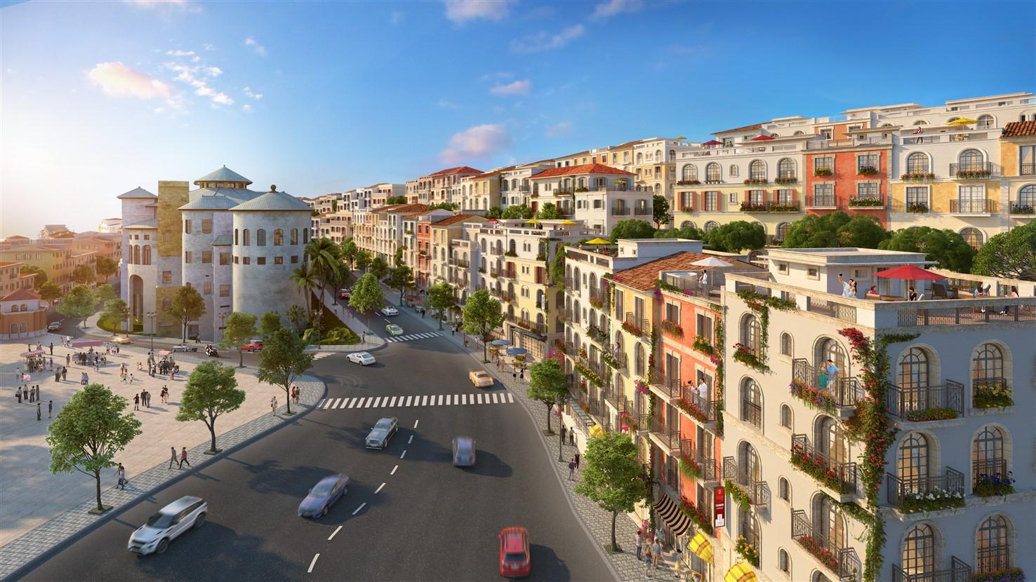 Phối cảnh một góc dự án thị trấn Địa Trung Hải. Ảnh: Sun Group.