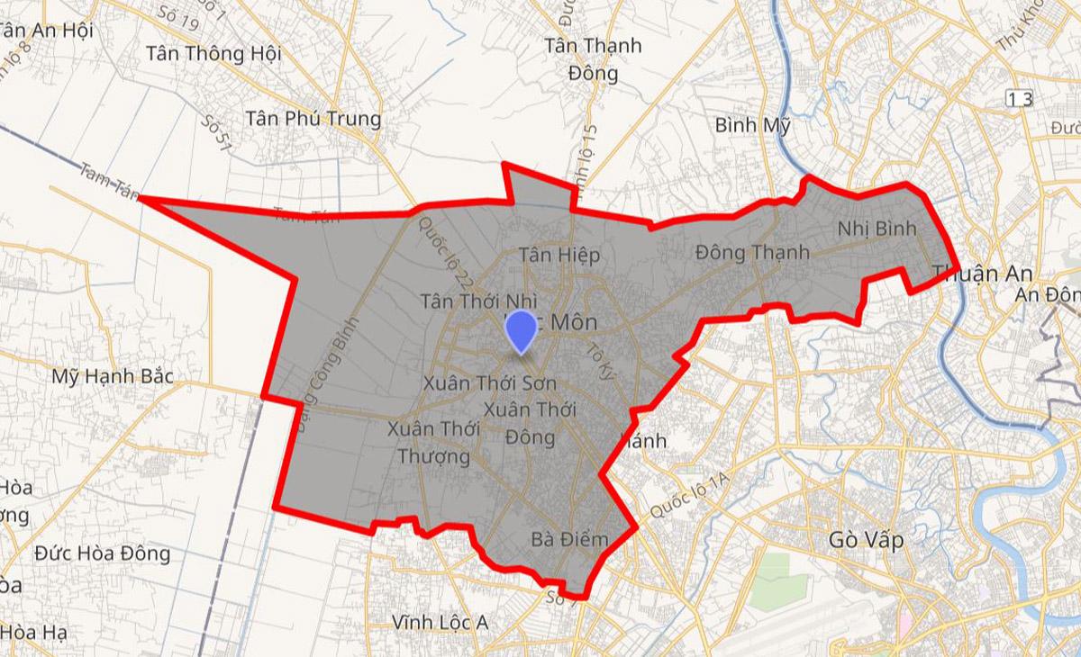 Bản đồ huyện Hóc Môn, TP HCM. Ảnh: Wikipedia