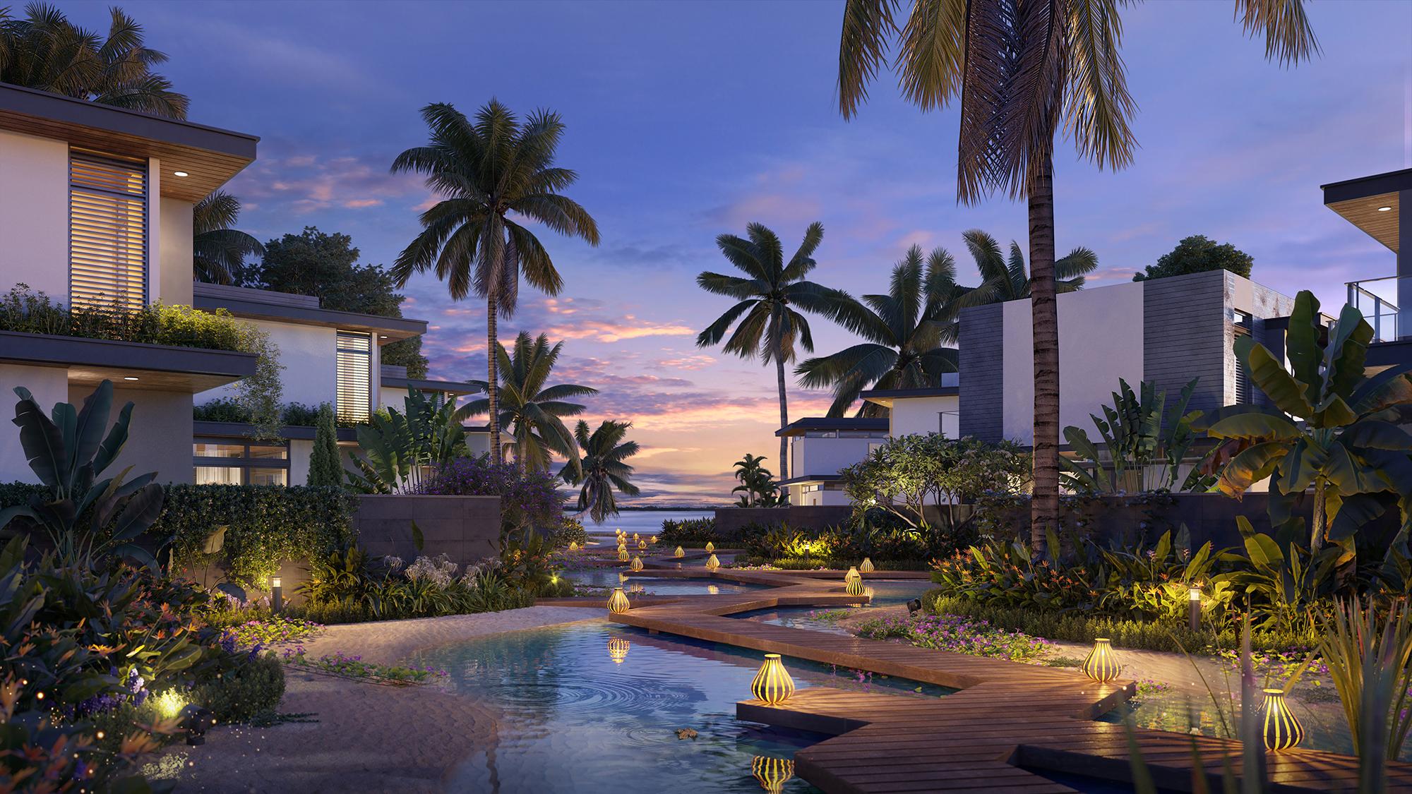 Chủ đầu tư muốn dòng nước chảy liên tục trước mỗi căn biệt thự sẽ mang đại dương đến thềm nhà. Ảnh: IFF Holdings.