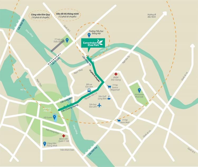 Eurowindow River Park nằm ở vị trí đắc địa, dễ dàng kết nối với xung quanh.
