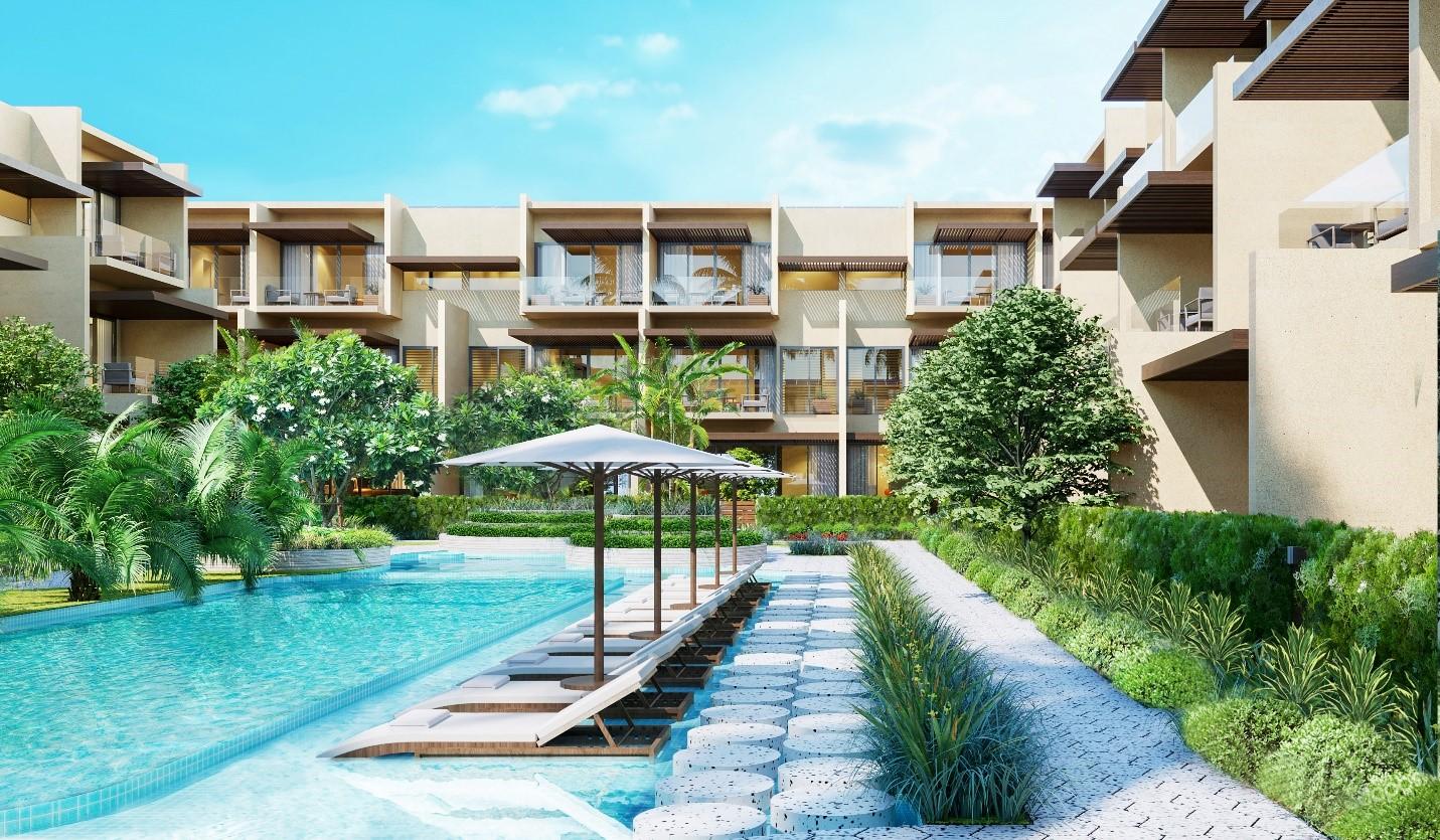 Hồ bơi và sân vườn giữa các ngôi nhà tại phân khu The Song. Ảnh: Thanh Long Bay.
