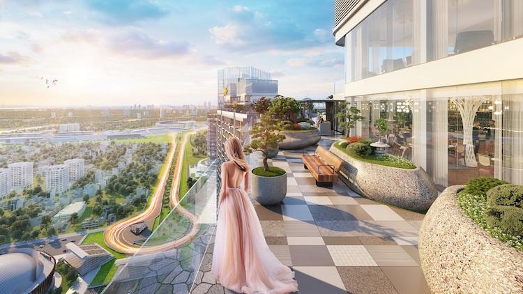 Phối cảnh vườn Nhật bình yên trên sân thượng tầng 43