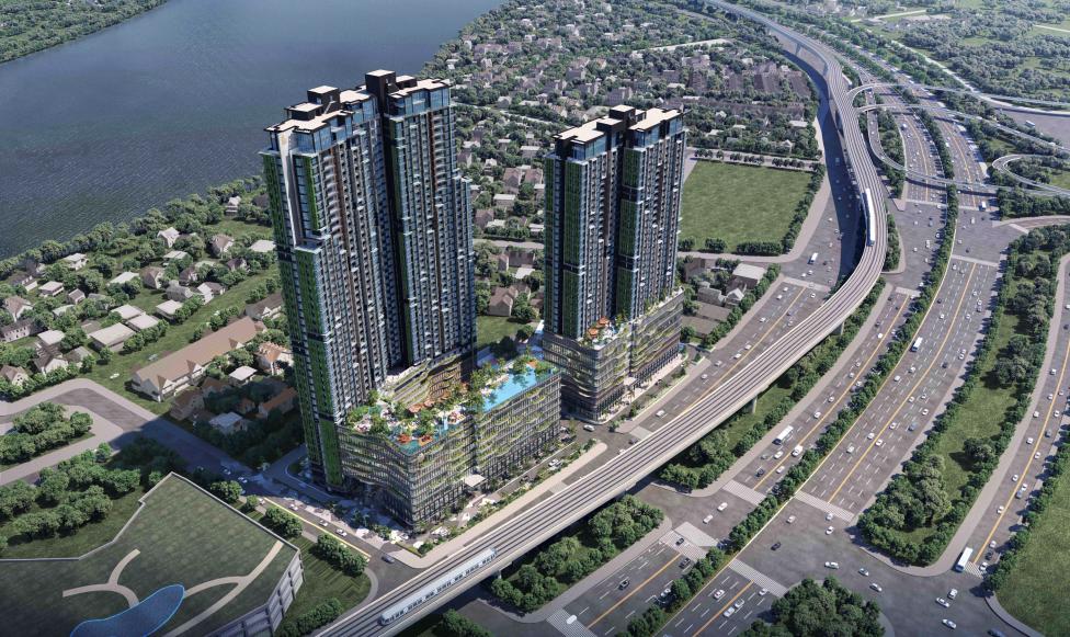 Toàn cảnh dự án Lumière Riverside nằm trên trục đường trung tâm của khu vực Thảo Điền. Ảnh phối cảnh: Masterise Homes.