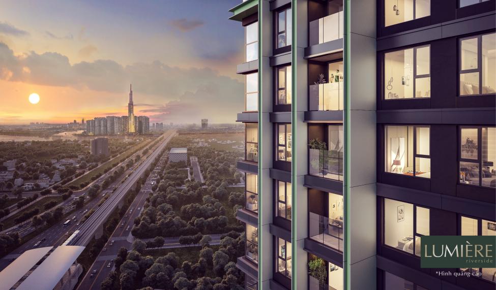 Dự án Lumière Riverside tọa lạc ngay cạnh tuyến Metro số. Ảnh phối cảnh: Masterise Homes.