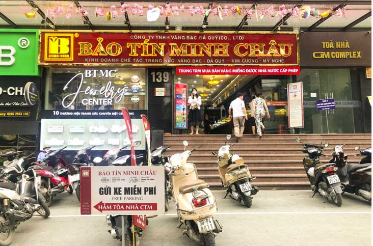 Cơ sở kinh doanh Bảo Tín Minh Châu tại 139 Cầu Giấy, Hà Nội. Ảnh: Bảo Tín Minh Châu.