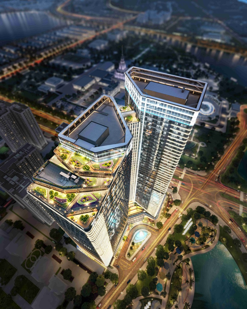 Techno Park cao 186,18 m với 45 tầng nổi, trong đó bao gồm 43 tầng văn phòng, một tầng thương mại dịch vụ và 3 tầng hầm. Ảnh: Vingroup.