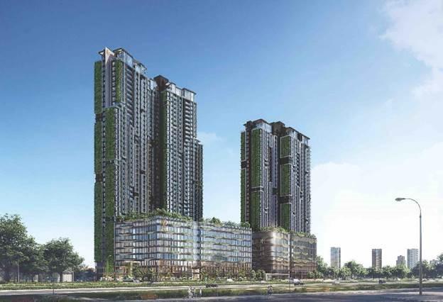 Mảng xanh trên mặt đứng tạo hiệu ứng thị giác đặc biệt cho khu căn hộ. Ảnh phối cảnh: Masterise Homes.
