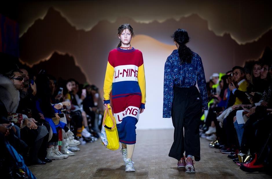 Li-Ning trình diễn bộ sưu tập tại New York Fashion Week 2019. Ảnh: AFP.