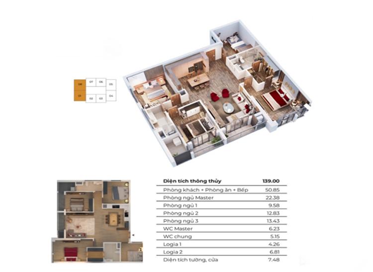 Căn hộ 08 - mẫu căn hộ 4 phòng ngủ điển hình tại tòa Diamond - Goldmark City.