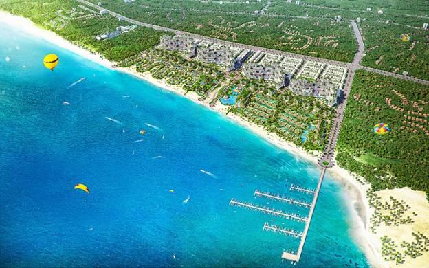 Nằm trên cung đường biển đẹp, Thanh Long Bay là một trong những dự án có quy mô lớn với diện tích trên 90 ha. Ảnh: Nam Group.