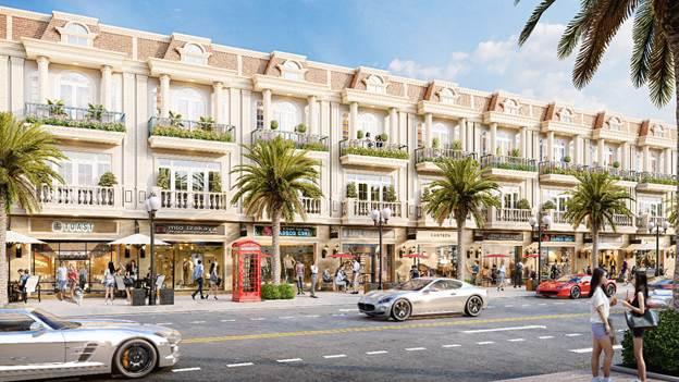Phối cảnh một dãy shophouse của khu đô thị Thăng Long Central City tại Bàu Bàng đang xây dựng và được Liên minh sàn giao dịch 5F giới thiệu ra thị trường.