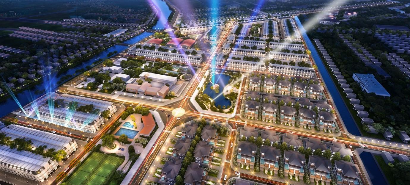 Phối cảnh dự án Vị Thanh New City về đêm. Ảnh: Công ty CP Liên Minh.