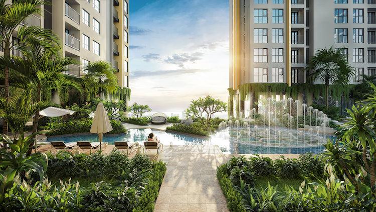 Phối cảnh cây xanh được bố trí tại nội khu dự án.