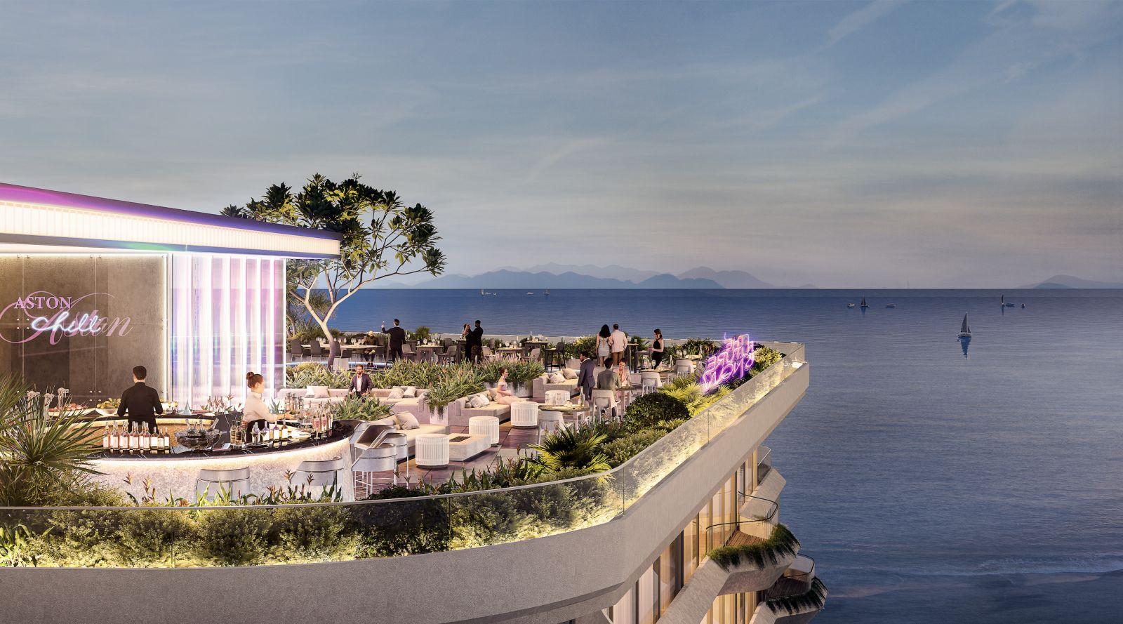 Khu Sky Lounge tầng thượng với tầm nhìn hướng ra vịnh biển. Ảnh phối cảnh: Tập đoàn Danh Khôi.