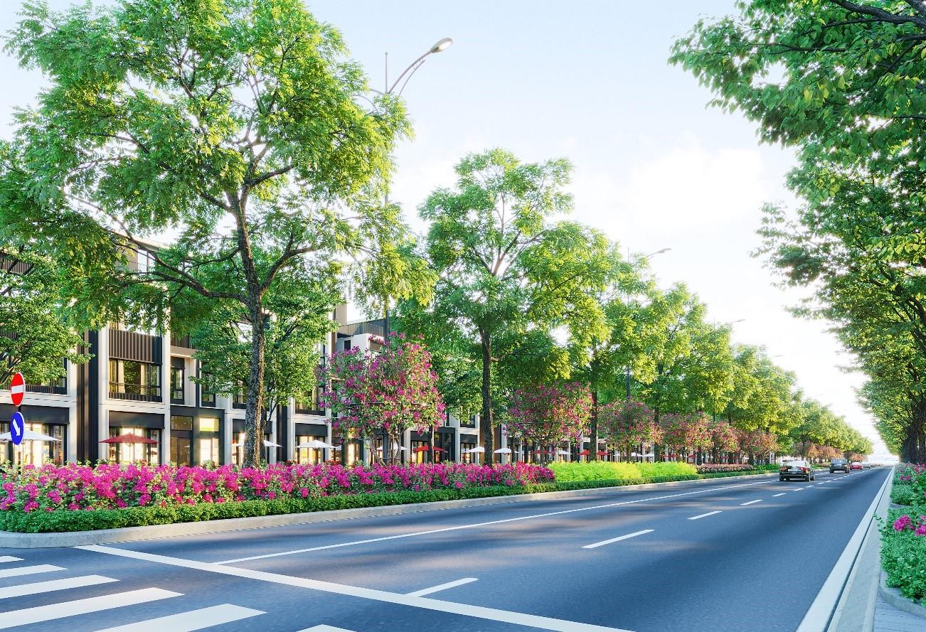 Đại lộ Goldsilk Boulevard dài 2 km - tuyến đường huyết mạch của khu đô thị khánh thành trong quý II. Ảnh phối cảnh: Tập đoàn Đất Xanh.