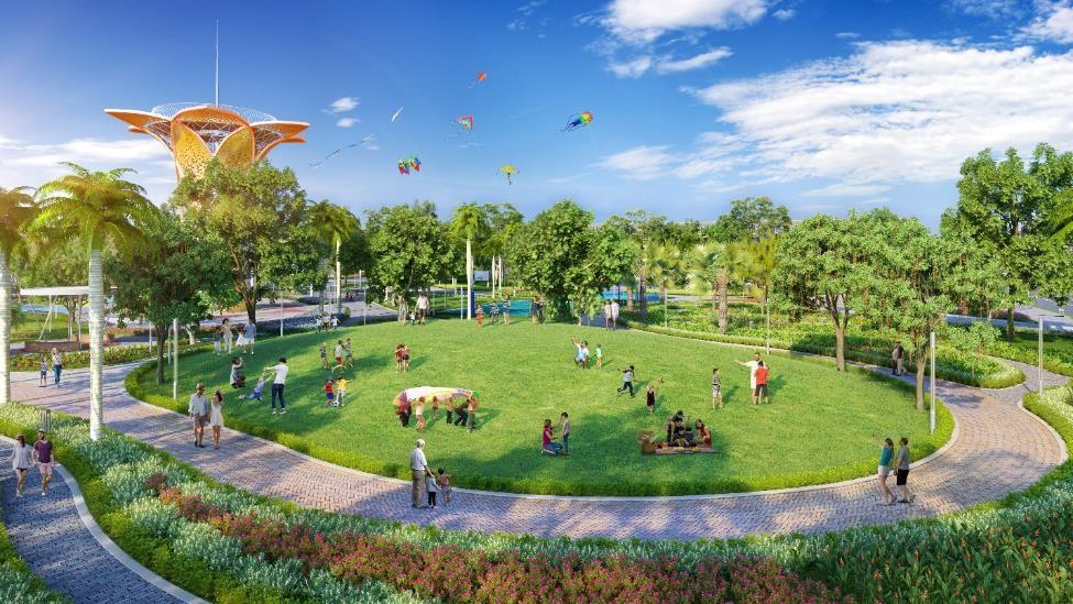 Khuôn viên công viên trung tâm Gem Sky Park rộng 3 ha vừa khánh thành ngày 4/4. Ảnh phối cảnh: Tập đoàn Đất Xanh.