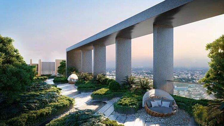 Một góc hệ sinh thái được thiết kế theo phong cách Singapore ngay trên tầng mái thứ 40 của Happy One - Central.