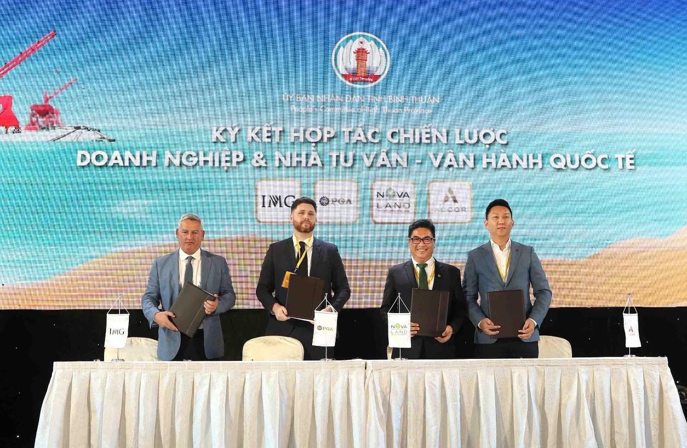 Novaland ký kết hợp tác cùng PGA và IMG tại Hội nghị xúc tiến đầu tư tỉnh Bình Thuận tháng 9/2019. Ảnh: Novaland.