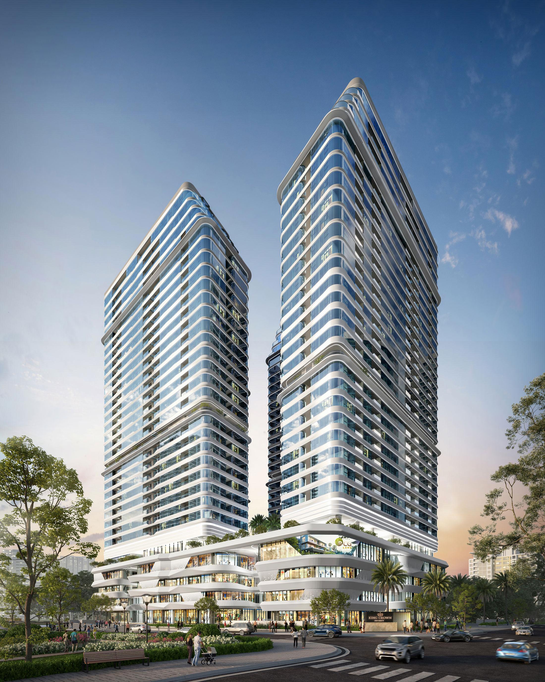 Khu phức hợp thương mại - căn hộ cao cấp King Crown Infinity đang thu hút sự chú ý của nhà đầu tư tại TP Thủ Đức. Ảnh phối cảnh: BCG Land.
