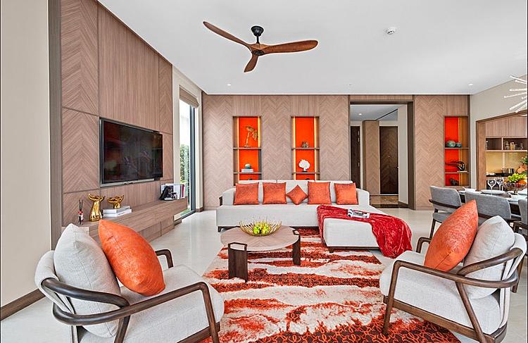 Ảnh thực tế phòng khách villa tại nhà mẫu của dự án.