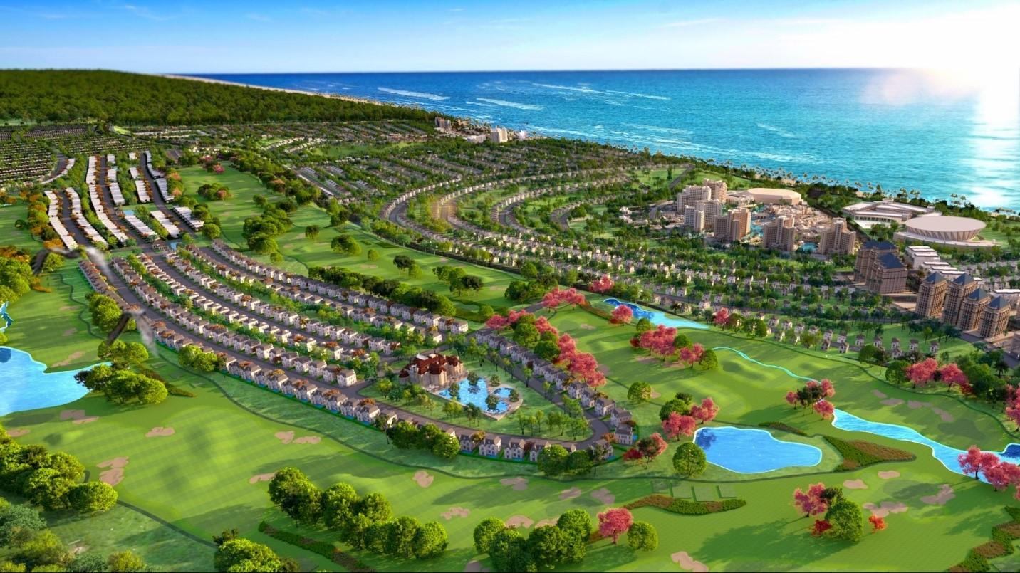 Dự án NovaWorld Phan Thiet quy mô 1.000 ha với tổng mức đầu tư 5 tỷ USD góp phần lột xác diện mạo của thủ phủ du lịch Bình Thuận. Ảnh phối cảnh NovaWorld Phan Thiet.