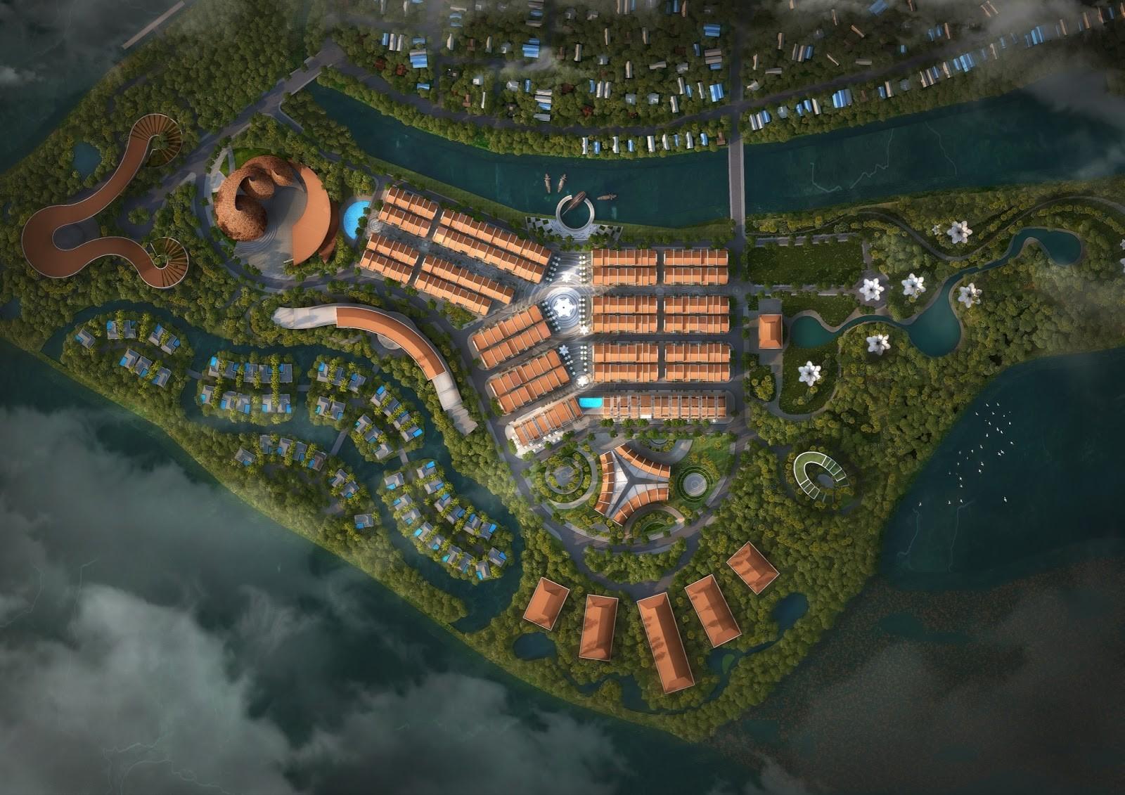 Phối cảnh tổng thể dự án Hoian d'Or nhìn từ trên cao. Ảnh: BCG Land.