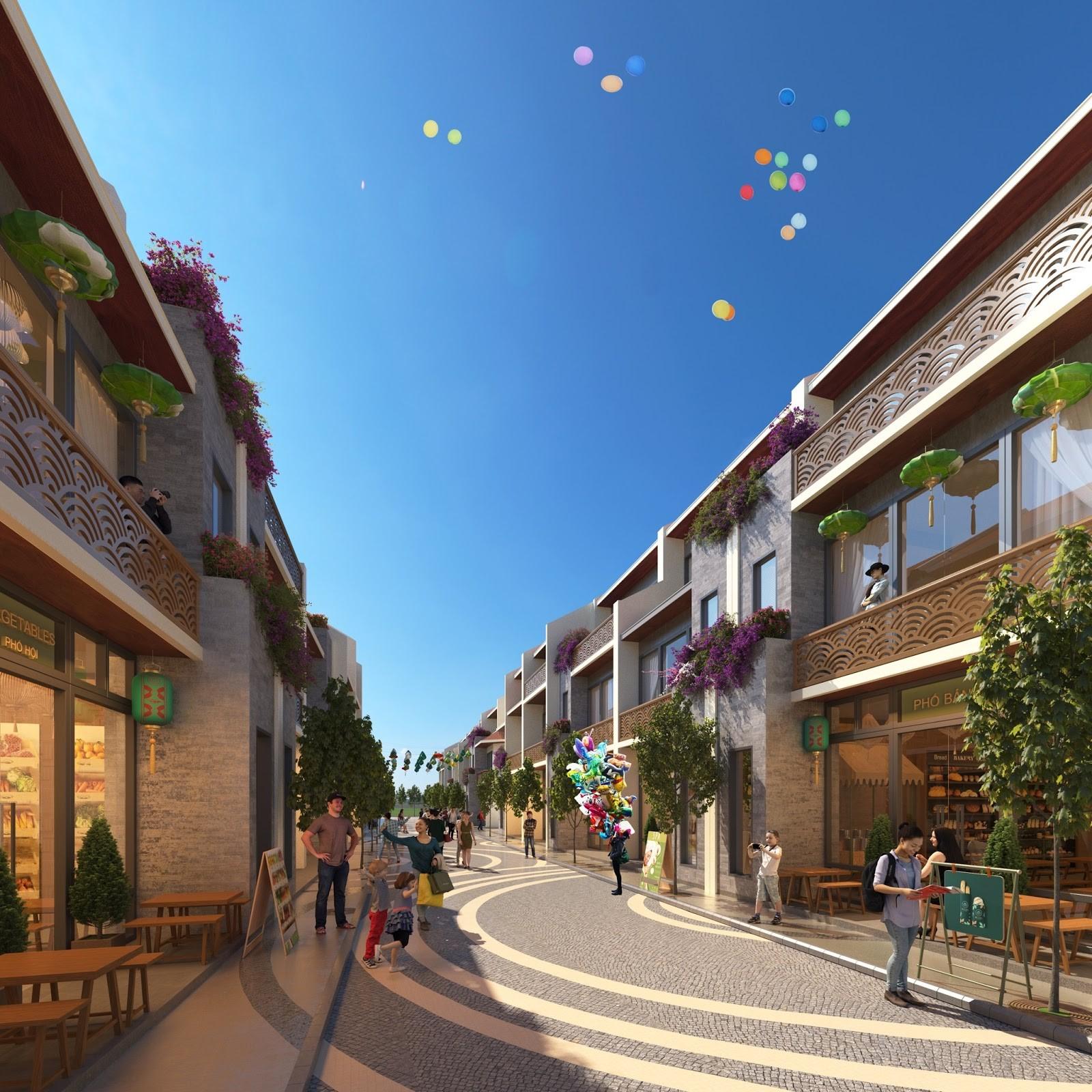 Phối cảnh khu shophouse tại dự án Hoian d'Or. Ảnh: BCG Land.