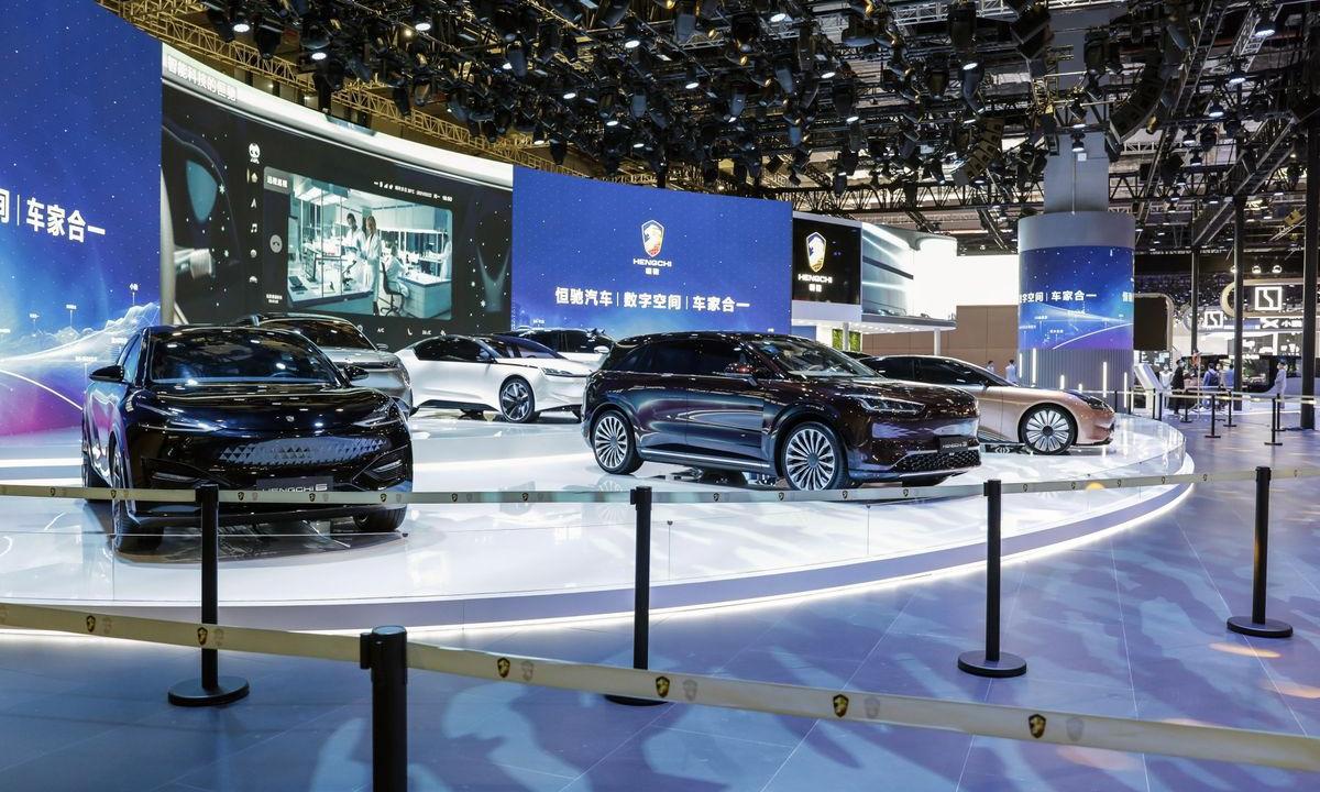 Gian trưng bày của Evergrande NEV tại China Auto Show 2021. Ảnh: Bloomberg