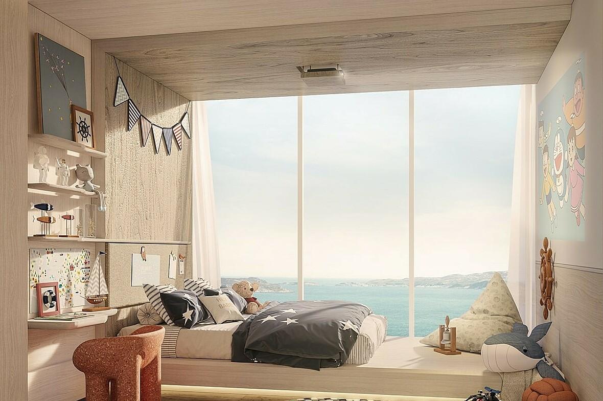 Phối cảnh một phòng ngủ có tầm nhìn hướng biển tại dự án The Aston. Ảnh: Danh Khôi.