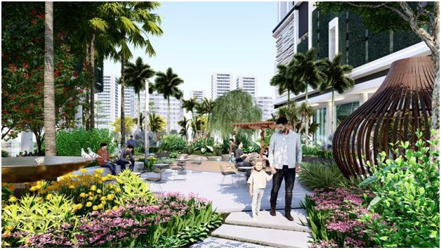 Mảng xanh tiện ích nội khu tại dự án SORA gardens II, Bình Dương.