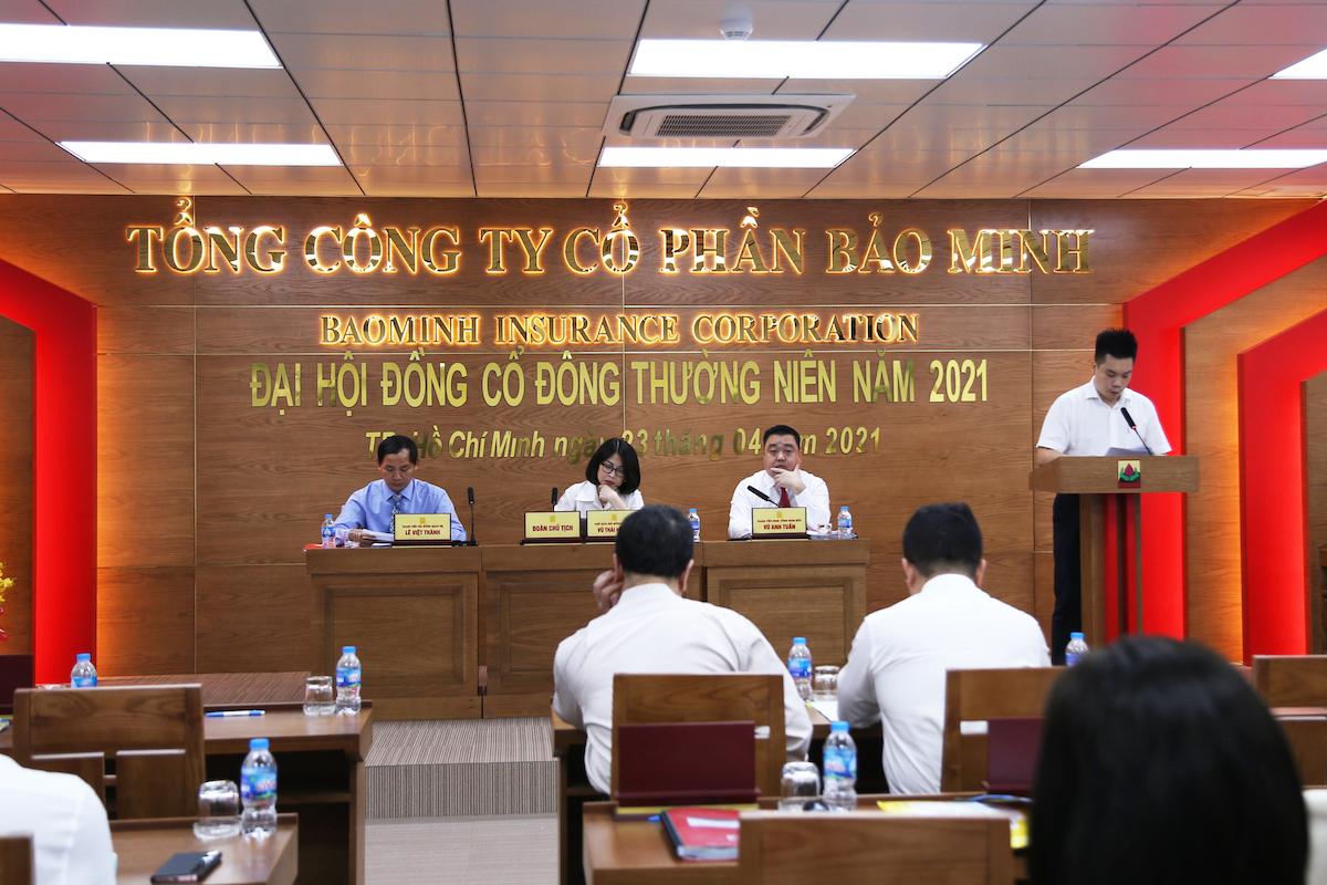 Cuộc họp Đại hội đồng cổ đông thường niên năm 2021 của BMI, ngày 23/4. Ảnh: Minh Minh