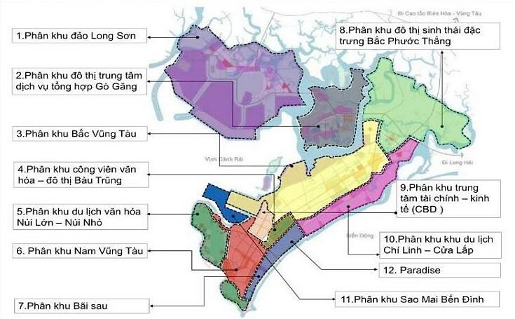 Các định hướng phân khu chức năng TP Vũng Tàu.