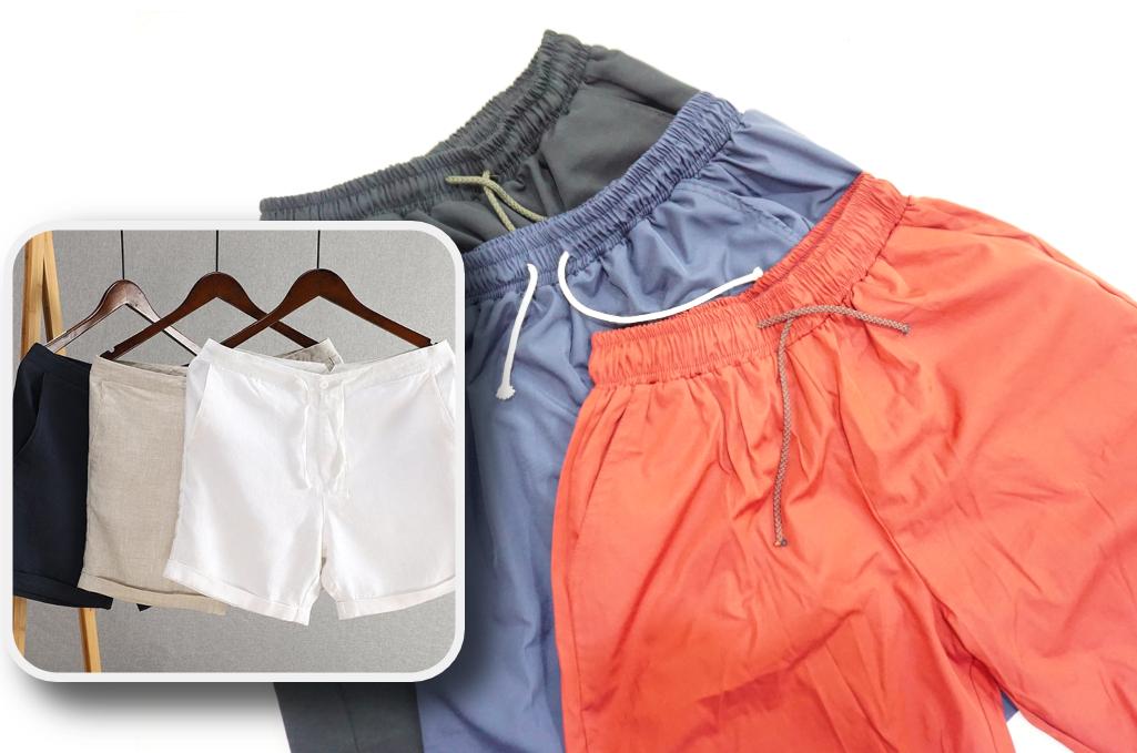 Bộ 3 quần đũi cửa hàng chào bán (trái) và 3 chiếc quàn mà Tùng nhận được (phải). Ảnh: Minh Tùng.