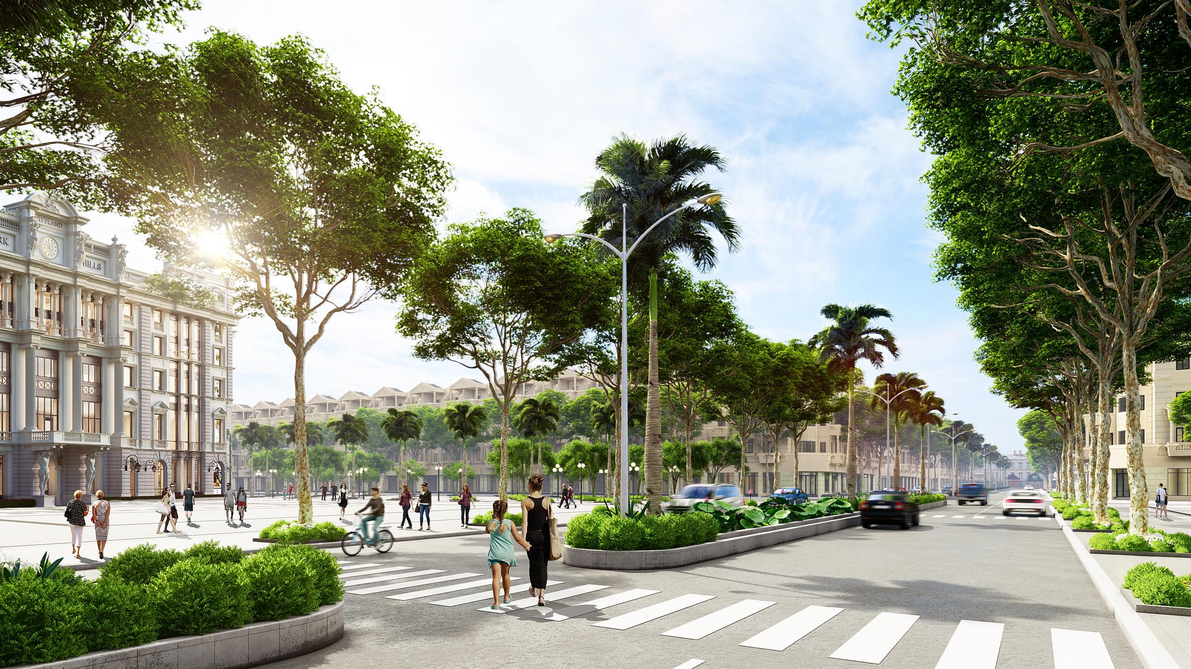 Phối cảnh trục đường trung tâm dự án với các căn nhà phố mặt tiền. Ảnh: CityLand.