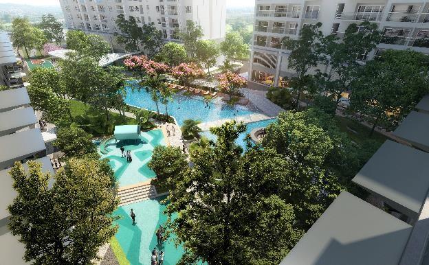 Khu hồ bơi theo tiêu chuẩn resort 5 sao trong lòng khu căn hộ Lavita Thuan An. Ảnh phối cảnh: Hưng Thịnh Land.
