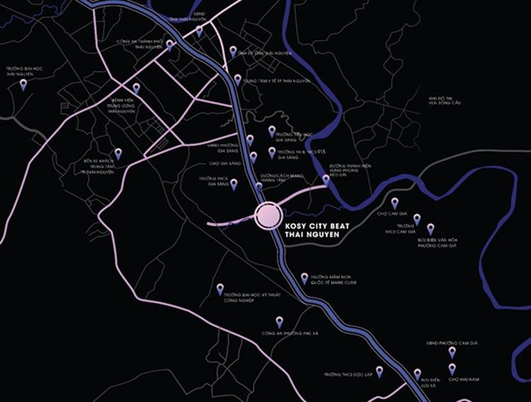 Vị trí trung tâm tăng sức bật cho dự án Kosy City Beat Thai Nguyen.