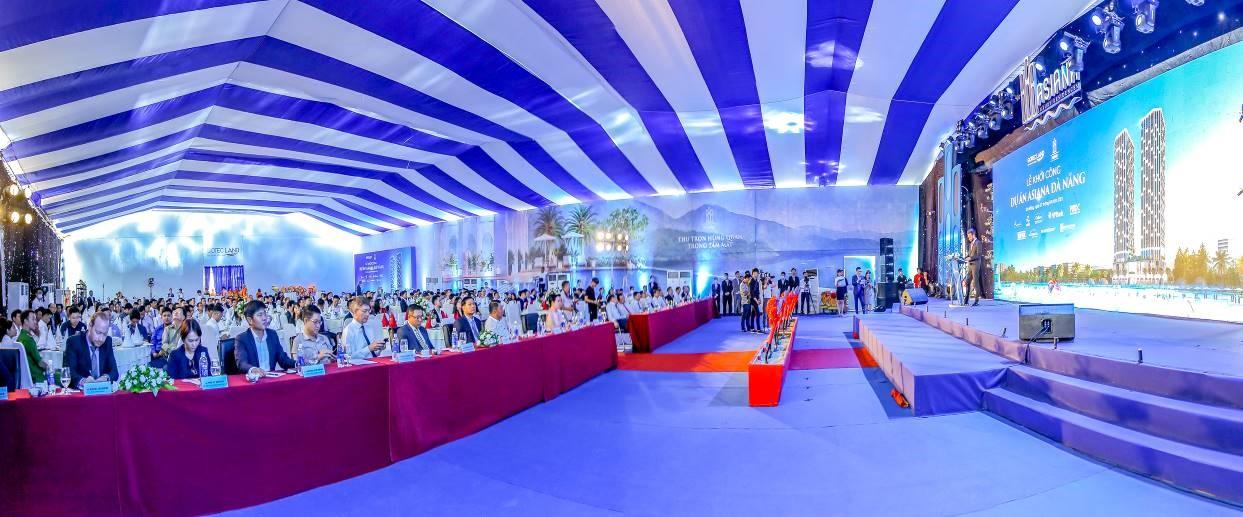 Sự kiện có sự tham gia của các đối tác phát triển dự án, chính quyền thành phố Đà Nẵng, quận Liên Chiểu và hơn 50 đơn vị đối tác kinh doanh từ ba miền. Ảnh: Gotec Land.