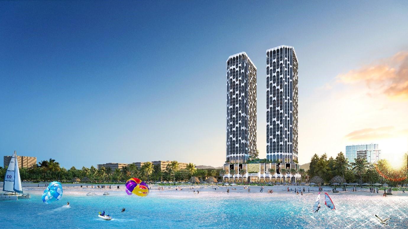 Dự án Asiana Đà Nẵng sở hữu thiết kế độc đáo và tầm nhìn trực diện Vịnh Đà Nẵng. Ảnh phối cảnh: Gotec Land.