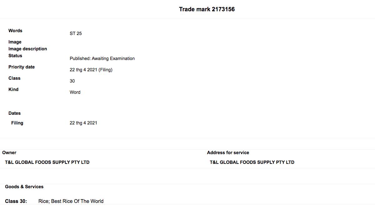 Hồ sơ xin bảo hộ nhãn hiệu gạo ST25 của của T&L Global Foods Supply tại Australia.