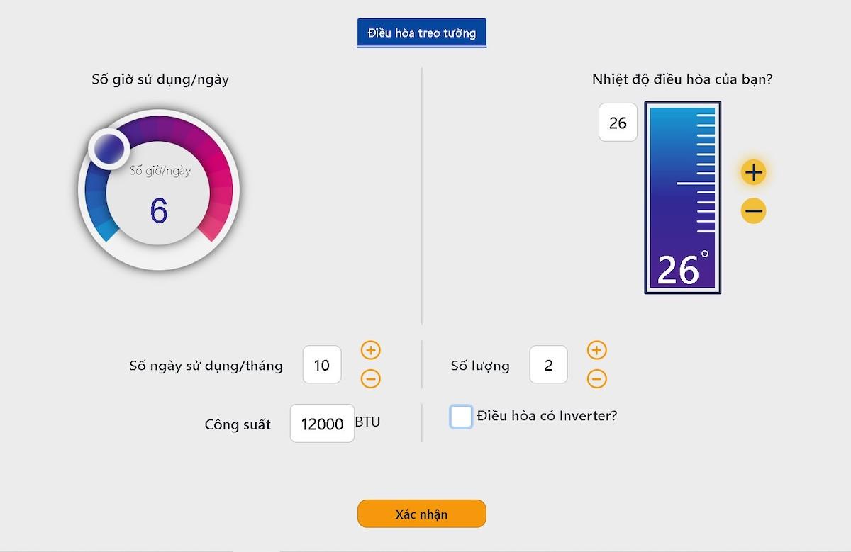 Minh hoạ cách tự tính lượng điện dùng trong tháng với thiết bị điều hoà. Nguồn: EVN