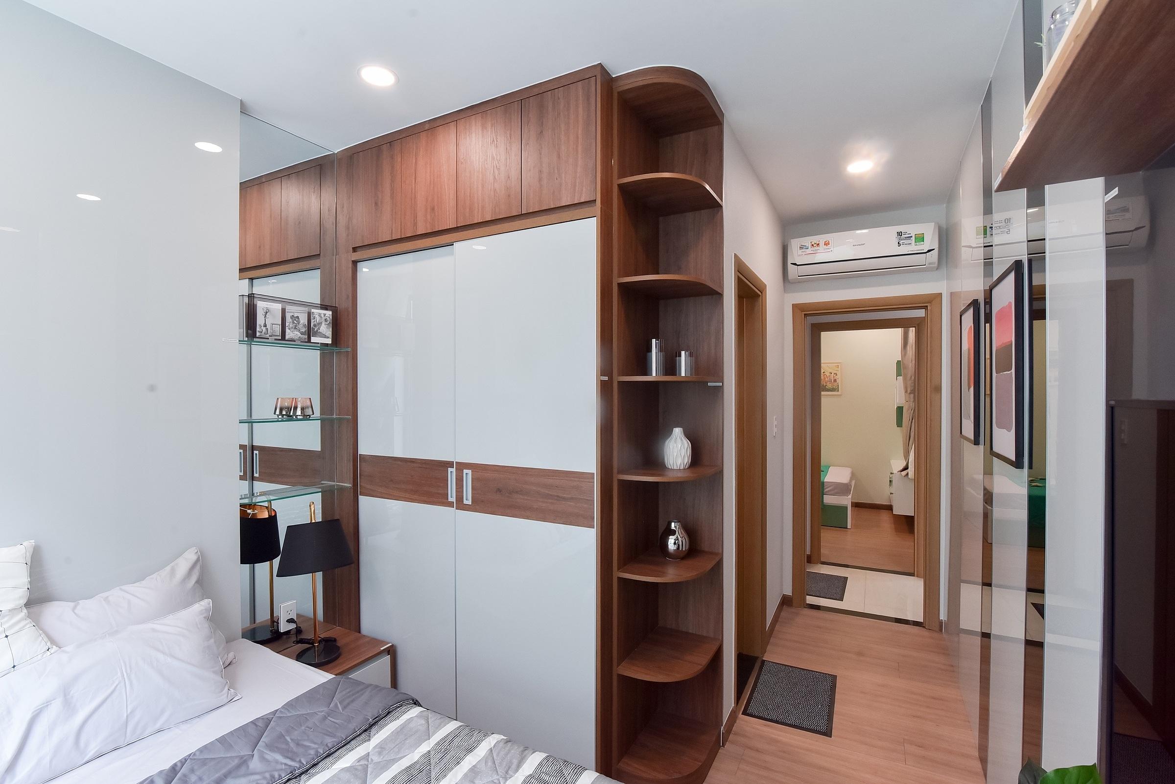 Với diện tích khoảng 50 m2, các căn hộ tại dự án Bcons Sala vẫn có thiết kế đầy đủ hai phòng ngủ, hai nhà vệ sinh và ban công.