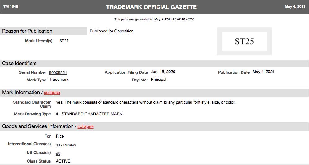 Nhãn hiệu ST25 của công ty I&T Enterprise, Inc được công bố trên Trademark Official Gazette (TMOG) hôm 4/5.