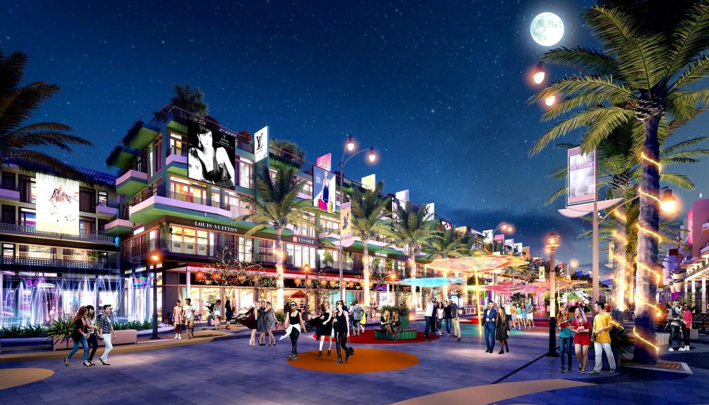 Shophouse Selashine tọa lại tại Đại lộ Ánh sáng sầm uất. Ảnh phối cảnh: TTC Phú Quốc.